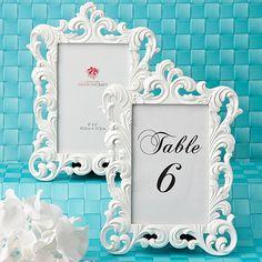 Baroque White Frame Table Number Holders for Weddings - Affordable Elegance Bridal -