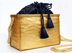 Gold Lacquered Woven Bamboo Handbag (Kumihimo Strap, Sashiko Inner)
