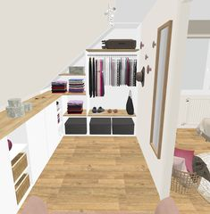 Projet client: une salle apaisante d& scandinave - Sonia Saelens déco Projet client: une salle apaisante d& scandinave - Sonia Saelens décoGemütliches Schlafzimmer? Attic Bedroom Storage, Attic Bedroom Designs, Loft Storage, Attic Bedrooms, Attic Closet, Attic Design, Closet Designs, Closet Bedroom, Eaves Storage