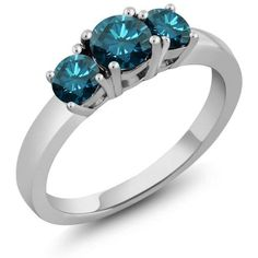 1.09 Ct Round Blue Diamond 925 Sterling Silver Ring, Women's, Size: 6