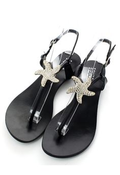 Crystal Starfish Flat Sandals - Best Sellers - Retro, Indie and Unique Fashion