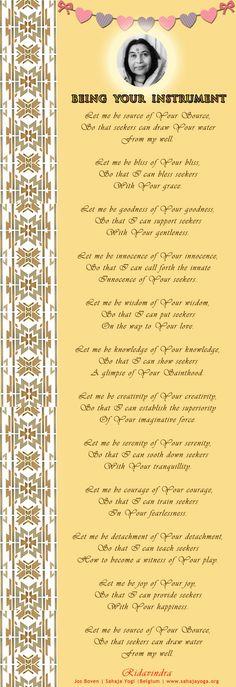 Being Your Instrument - Poem  Ridavindra Jos Boven | Sahaja Yogi |Belgium | www.sahajayoga.org