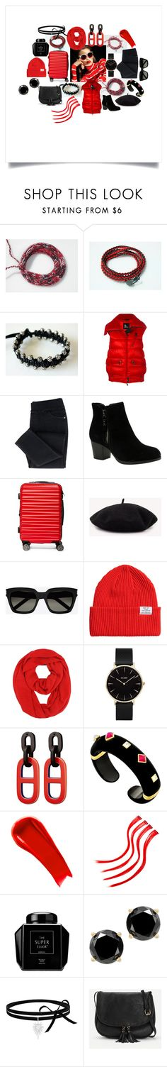 Red & Black by crystalglowdesign on Polyvore featuring Moncler Grenoble, Skechers, Margot McKinney, CLUSE, Yves Saint Laurent and NARS Cosmetics