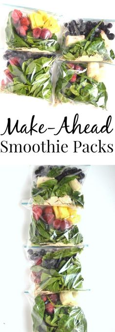 Make-Ahead Smoothie Packs Four make-ahead smoothie pack combinations that are stored right in your freezer! Save time by making these freezer smoothie packs ahead that just require 1 cup of liquid and blending to have breakfast or snack ready in no time. Smoothies Vegan, Make Ahead Smoothies, Smoothie Fruit, Healthy Breakfast Smoothies, Smoothie Drinks, Smoothie Detox, Healthy Drinks, Healthy Snacks, Healthy Eating