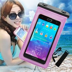 New Waterproof Case For Note 4 & iPhone 6 Plus Freely Strap & Armband Pink Skin