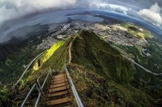 Abandoned 4,000-step stairway along the peak of Hawaiian mountains