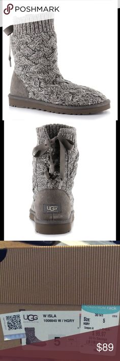 UGG® Women's Isla Knit Casual Boots Like new condition, worn a few times. Cozy up in fashion and function with these Isla Knit Boots from UGG®. Fun and functional the lace up ribbon a comfortable knit combine for a great fit. The soft, lining, plush wools and flexible knit give these boots a extreme comfort. The warm wool interior provide cozy comfort, and the innovative Treadlite by UGG™ outsole delivers lightweight traction, cushioning, flexibility, and durability. UGG Shoes Winter & Rain…