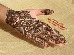 "YouTube best Arabic mehndi henna design art creation tutorial for front hand. Search ""Nidhi's MehndiART"" YouTube channel for all kind of mehndi henna design tutorial. #fashion #jewellery #trend #bridal #bride #wedding #marriage #festival #tradition #beautiful #girl #london #paris #canada #us #india #surat #ahmedabad #uk #arabic #floral #gulf #dubai #henna #mehndi #mehandi #art #drawing #tattoo #design"