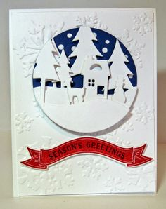 Neat with the dark blue snow background - remember this for embossing folders