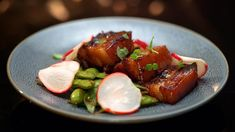 Georgie & Alicia's Miso Caramel Pork Belly with Spiced Edamame and Pickled Radish - My Kitchen Rules Pork Recipes, Diet Recipes, Cooking Recipes, Recipies, Meat Love, My Kitchen Rules, Pickled Radishes, Edamame, Appetisers
