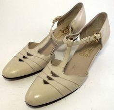 SALVATORE FERRAGAMO Women's Shoes  Cream Leather by SaltandHoneyUT