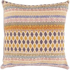Colorful Kantha stitch pillow from Surya - couldn't you do kantha on any fabric?