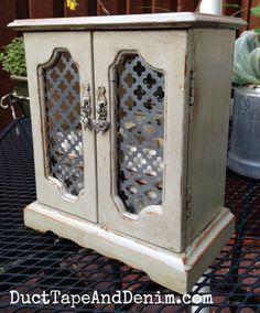 AFTER... Vintage jewelry cabinet makeover | DuctTapeAndDenim.com