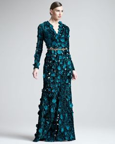 "OSCAR DE LA RENTA  Teal blue-green Velvet Gown with unique floral embroidery and fluttering ""petal"" attachments."