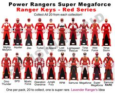 images of all the red power rangers keys | Power Ranger Keys Red Set - Proposal by LavenderRanger