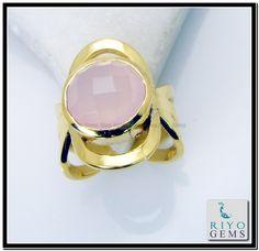 Rose Quartz Gemstone 18.Kt Gold Plating Mothers Ring Sz 7 Gprroq7-6812 http://www.riyogems.com