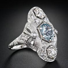 I adore art deco & Edwardian jewelry! Aquamarine and Diamond Art Deco Dinner Ring - Lang Antiques