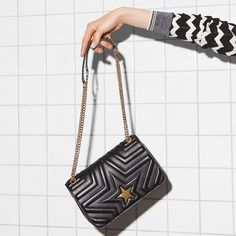 a72ba9c2cef51 Stella McCartney Black Medium Stella Star Flap Over Bag