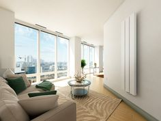 What more would you like from life than a duplex penthouse in New York City? But how would that penthouse wonder look like? Beige Living Rooms, Spacious Living Room, Cozy Living Rooms, Duplex Design, Apartment Design, House Design, Back Painted Glass, Bright Apartment, Luxury Penthouse