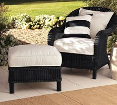 black wicker armchair
