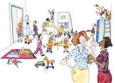 Class room chaos created for Pearson Education Dip Pen, Class Room, Princess Zelda, Watercolor, Ink, Traditional, Education, Children, Illustration