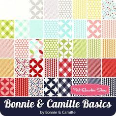 "Bonnie & Camille Basics Charm Pack Bonnie & Camille for Moda Fabrics - Charm Packs & 5"" Squares | Fat Quarter Shop"