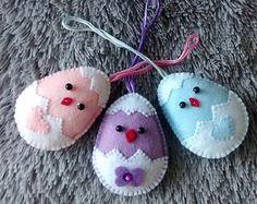 Felt Easter Chick and Egg/ Felt Ornament/ Set of 3 / Easter Decor / Easter Ornament/ Handmade