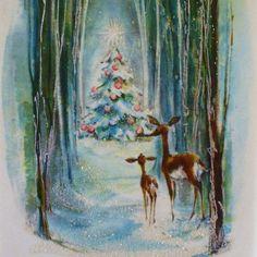 vintage Hallmark deer christmas greeting card (unused parchment with glitter)