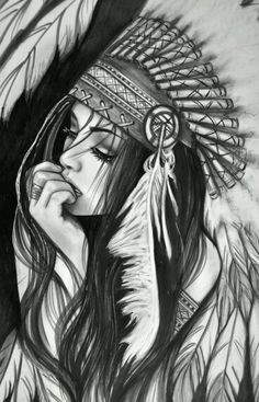 Indian girl in head dress: charcoal or pencil maybe watercolor