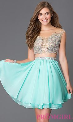 Short Two Piece Homecoming Dress 1314 at PromGirl.com