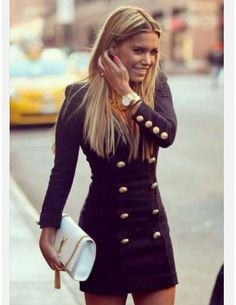Fashionable Ladies Double-breasted V-neck knitted dress sexy op dress Formal Dresses For Women, Slim Fit Dresses, Sexy Dresses, Casual Dresses, Fashion Dresses, Ladies Dresses, Marine Gold, Look Formal, Chloe Dress