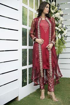 Pakistani Designer Dresses - Lowest Prices - Maroon Chantilly lace Collection Gown Dress - Latest Pakistani Fashion www.iluvdesigner.com