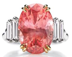 Harry Winston's Very Rare &  Precious Padparadscha sapphire and diamond ring