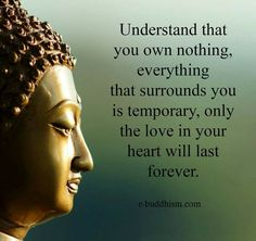 Understand that you own nothing, everything that surrounds you is temporary, only the love in your heart will last forever.