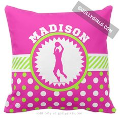 Golly Girls: Personalized Pink & Green Polka-Dots Basketball Throw Pillow from gollygirls.com
