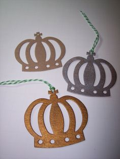 Crown Die Cuts Make Cute Ornaments set of 8 by mreguera on Etsy, $4.00