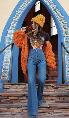 24 Model Street Style Ideas For Teen Girls 24 Street Style Ideas by Dizzy Outfit. We wanted to have a great time. These dizzying outfit trends. Vintage Outfits, 70s Outfits, Mode Outfits, Hippie Outfits, Casual Outfits, Indie Rock Outfits, Cold Weather Outfits Casual, Fall Outfits, Orange Outfits
