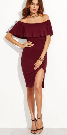"""f036c81320 Képtalálat a következőre: """"szilveszteri ruha"""". Továbbiak. Burgundy Ruffle  Off The Shoulder Slit Dress Divattrendek, Aranyos Ruhák, Hétköznapi  Outfitek, ..."""