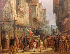 Richard III prepares for battle outside the Blue Boar Inn, Leicester Artist John Fulleylove Copyright University of Leicester