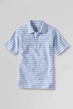 Boys  Self Collar Stripe Polo Shirt from Lands  End d2f9ea689