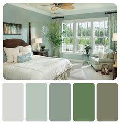 Cool green bedroom scheme