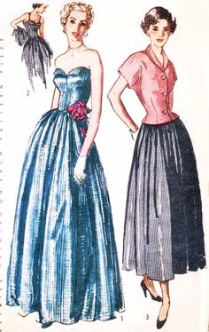 1940s  STRAPLESS Petal Bodice Evening Gown Pattern SIMPLICITY 2815 Figure Flattering Party Formal Dress and Fitted Jacket Bust 32 Vintage Sewing Pattern