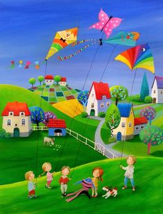 "Saatchi Art Artist: Iwona Lifsches; Acrylic 2013 Painting ""Ulla's Kiting Day"" SOLD"""