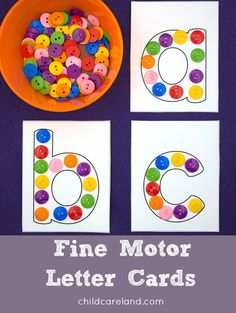 Fine Motor Letter Cards Fine motor letter cards can be used with buttons … playdough … small pom poms etc. Motor Skills Activities, Preschool Learning Activities, Alphabet Activities, Toddler Activities, Preschool Activities, Fine Motor Skills, Kindergarten Literacy Centers, Circle Time Activities, Preschool Classroom