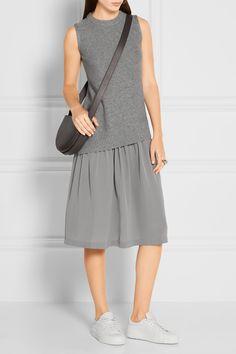Joseph   Wool and cashmere-blend and silk crepe de chine dress   NET-A-PORTER.COM