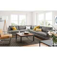 Room Board Campbell Sectional In Sumner Graphite