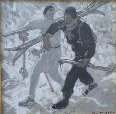 Alfons Walde | Wintersport Tempera, Retro Illustration, Illustrations, Figure Drawings, Gw, Drawing People, Austria, Skiing, Posters