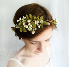 cream and green bridal circlet, woodland wedding, rustic flower hair wreath - WILLOW - pussy willow, berries headpiece, leaves on Etsy, $85.00