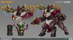 I design a fan art skin for Orisa ! Is about X'MAS theme Overwatch Video Game, Overwatch Memes, Overwatch Fan Art, Paladins Overwatch, Overwatch Drawings, Game Character Design, Character Concept, Character Art, Art Inspiration Drawing