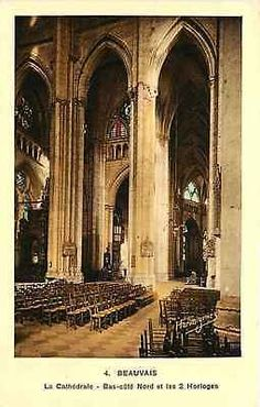 Beauvais France 1908 Cathedral North Aisle & 2 Clocks Beauvais France Circa 1908 Interior view of Cathedral showing the North aisle and two clocks. Unused antique vintage postcard in very good conditi